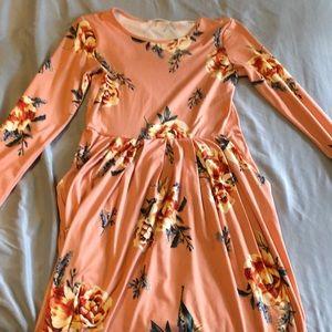 Midi length long sleeve floral dress